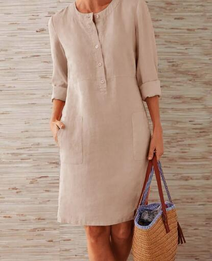 1 piece Cotton Linen three quarter sleeve female straight Midi Single Breasted Comfortable dresses for women платье летнее