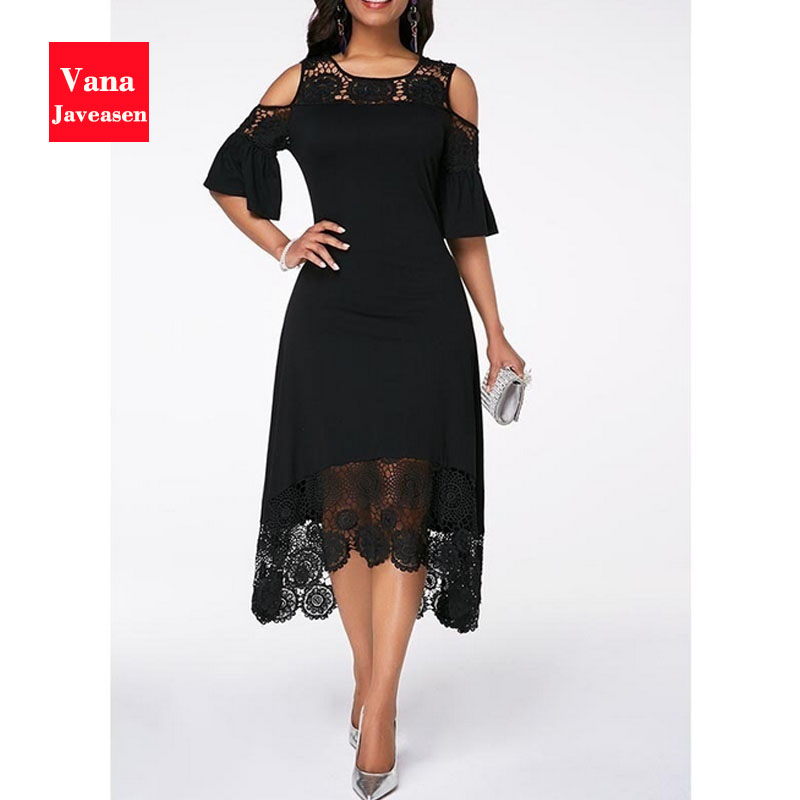 Woman Flare Cuff Lace Hollow Panel Dress A-Line Fashion Lady Solid Patchwork Mid-Calf Elegant O-neck Summer Womans Party Dresses
