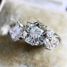 Huitan Asymmetry Design Women Finger-rings for Party with Dazzling CZ Fancy Wedding Anniversary Gift Lover Unique Trendy Jewelry