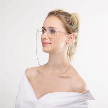 Moda feminina óculos de leitura corrente metal liga cabos titular pescoço cinta anti-derrapante óculos corrente pérola corda eyewear estrelas reta