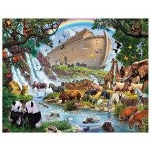Broca brilhante diy 5d diamante mazayka noahs arca dimond pintura tigre, elefante, urso broca animais bordado ds10033