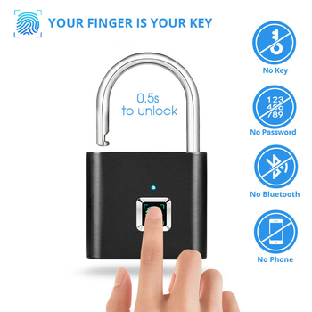 Smart Fingerprint Lock Keyless Anti-theft Security Door Padlock IP65 Waterproof USB Rechargeable Fingerprint Padlock van garage shed door security padlock