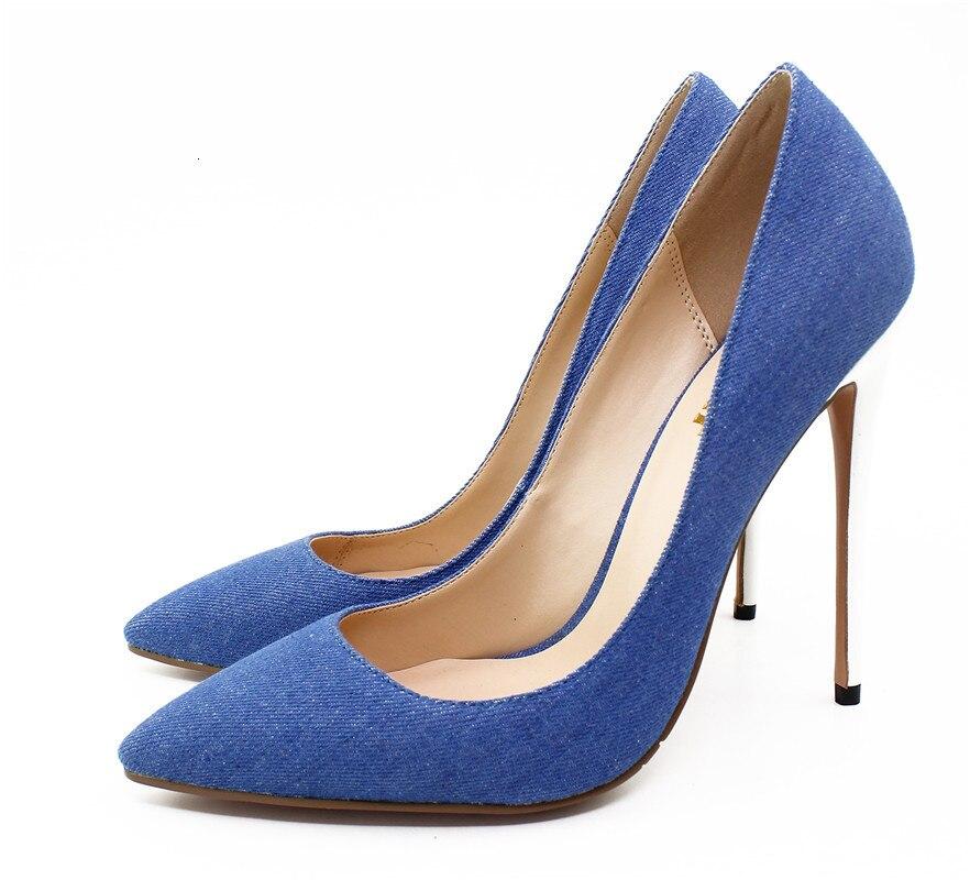 Джинсовые кожаные сандалии; женские босоножки на очень высоком тонком каблуке; пикантные белые туфли на каблуке; большие размеры 35 45; обувь для подиума с острым носком - 4