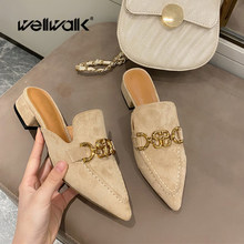 Designer Mule Slippers Women Low Heel Shoes Pointed Toe Female Spring Summer Slides Luxury Brand Buckle Chain Shoe Woman Sliders(China)