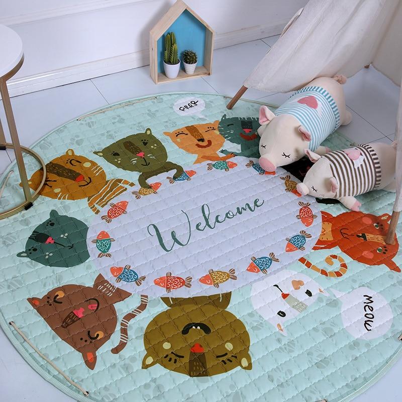 H6c08feecdd51458caf88cb0856c4d07eC Kid Soft Carpet Rugs Cartoon Animals Fox Baby Play Mats Child Crawling Blanket Carpet Toys Storage Bag Kids Room Decoration