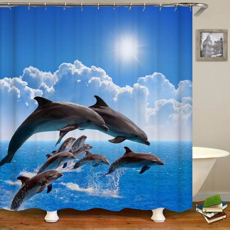 Ocean Design Dolphin 4 In 1 Waterproof Fabric Bathroom 3D Shower Curtain Set with Non Slip Toilet Cover Rugs Mat Home Decoration 2