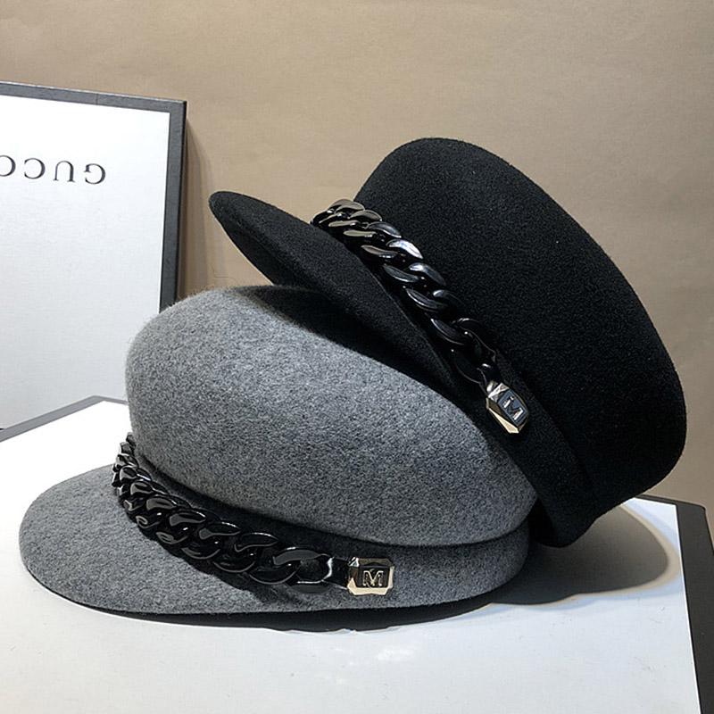 100% Wool Gray Black Winter Hat Warm Wool HatWomen Fashion Chain Newsboy Caps Hat Female