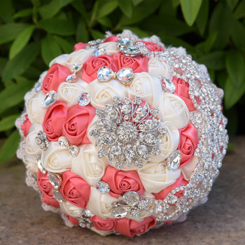 Gorgeous Beaded Crystal Wedding Bouquet Ivory Rose Bridesmaid Flowers Artificial Sapphire Pearl Bridal Bouquets Bruidsboeket
