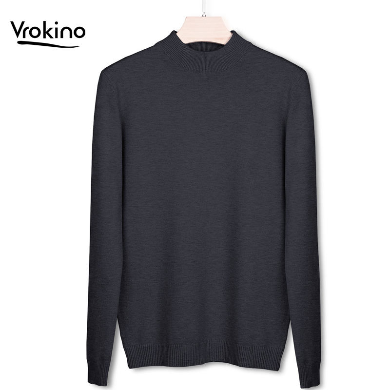 VROKINO Brand Men's Sweater 2019 Autumn And Winter Fashion Pullover Men's Knit Sweater Slim Fit Large Size Multi-color Selection