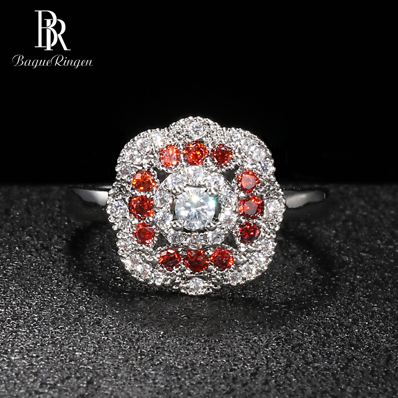 Bague Ringen Flower Shaped Silver 925 Jewelry Gemstones Ring For Women Ruby AAA Zircon Female Accessory For Party Wholesale Gift