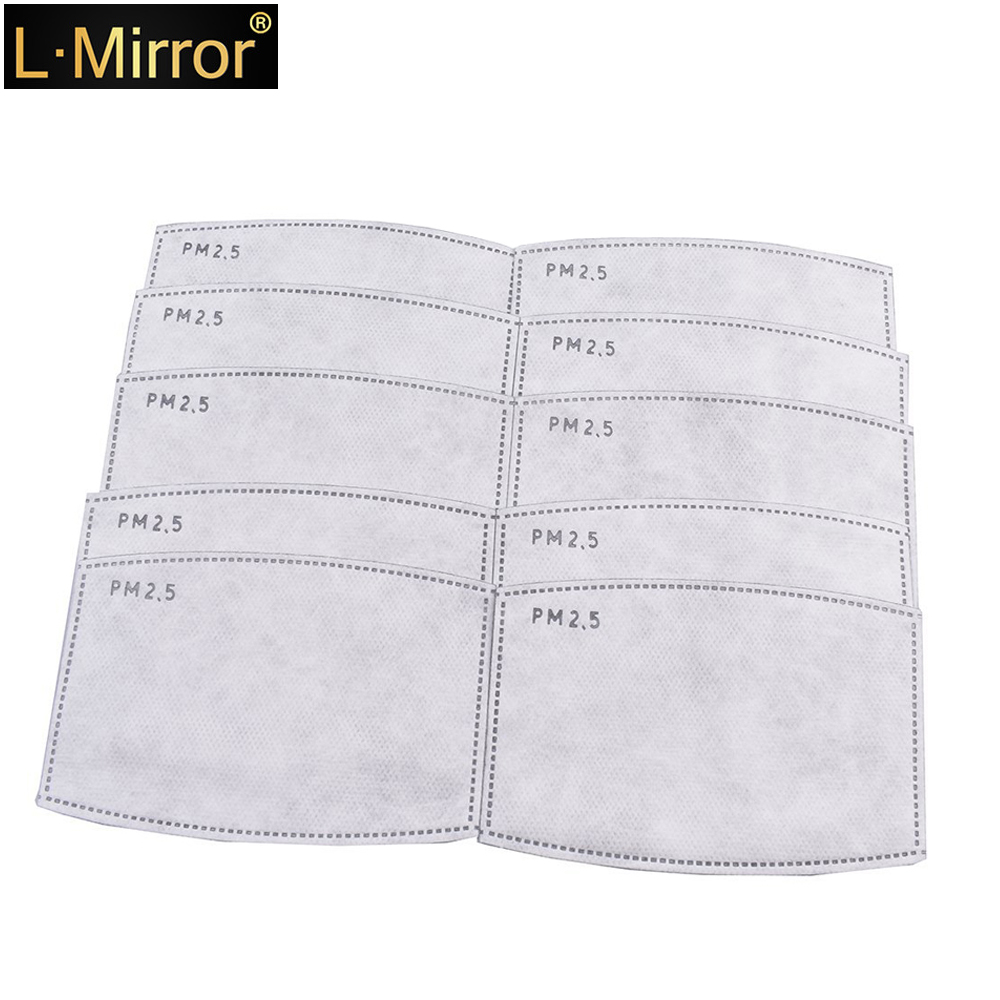 L.Mirror 10Pcs/Lot 5 Layers PM2.5 Activated Carbon Filter Insert Protective Filter Media Insert For Mouth Mask Anti-dust Masks