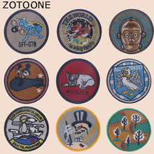 ZOTOONE Round Punk Patches Diy Skull Stickers Iron on Clothes Heat Transfer Applique Embroidered Applications Cloth Fabric G zotoone round punk patches diy skull stickers iron on clothes heat transfer applique embroidered applications cloth fabric g
