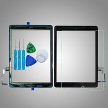 Para ipad air1 1 ° touch screen digitalizador, de vidro, a1474 a1475 a1476, com botão de início, suporte para câmera, adesivo kit de ferramentas + vidro temperado