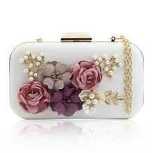 Women Clutches Purses Bags Flower Leather Envelope Pearl Wallet Evening Handbag(white)