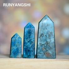 Pedra de cristal natural apatite cristal varinha cura pedra torre de cristal obelisco varinha tratamento pedra diy presente