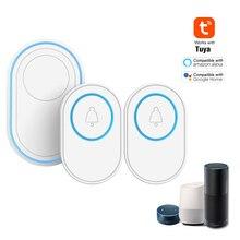 Tuya Alarm Host with Wireless WIFI Doorbell Function Doorbell Kit 2 PCS Outdoor Doorbell + 1PCS Indoor Chime With LED