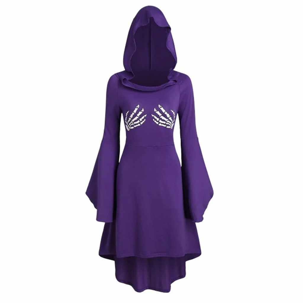 Sagace moda feminina manga longa esqueleto impressão rendas até dia das bruxas com capuz midi vestido de inverno solto plus size vestido de festa sep 12