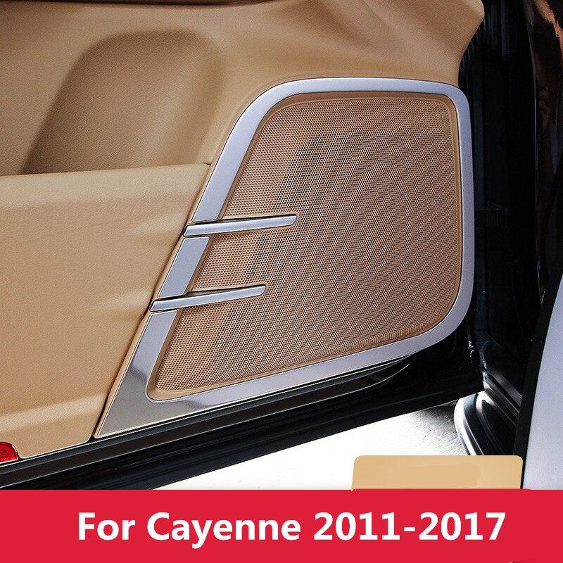 Matte Silver Car Interior Door Speaker Sticker Moulding Trim For Porsche Cayenne 2011 2012 2013 2014 2015 2016 2017 Styling