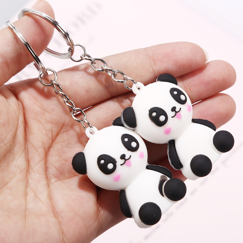 1pcs Creative Cute Cartoon Keychain Metal Jewelry Animal Panda Keychain Girls Bag Ornaments Accessories Gift in Key Chains from Jewelry Accessories