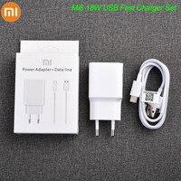 Original XIAOMI cargador rápido 18W USB rápido adaptador 100CM TYPE-C Cable para Mi 6 8 9 10 Redmi Note 7 8 Pro A2 A3 Lite F1 MDY-08-EI