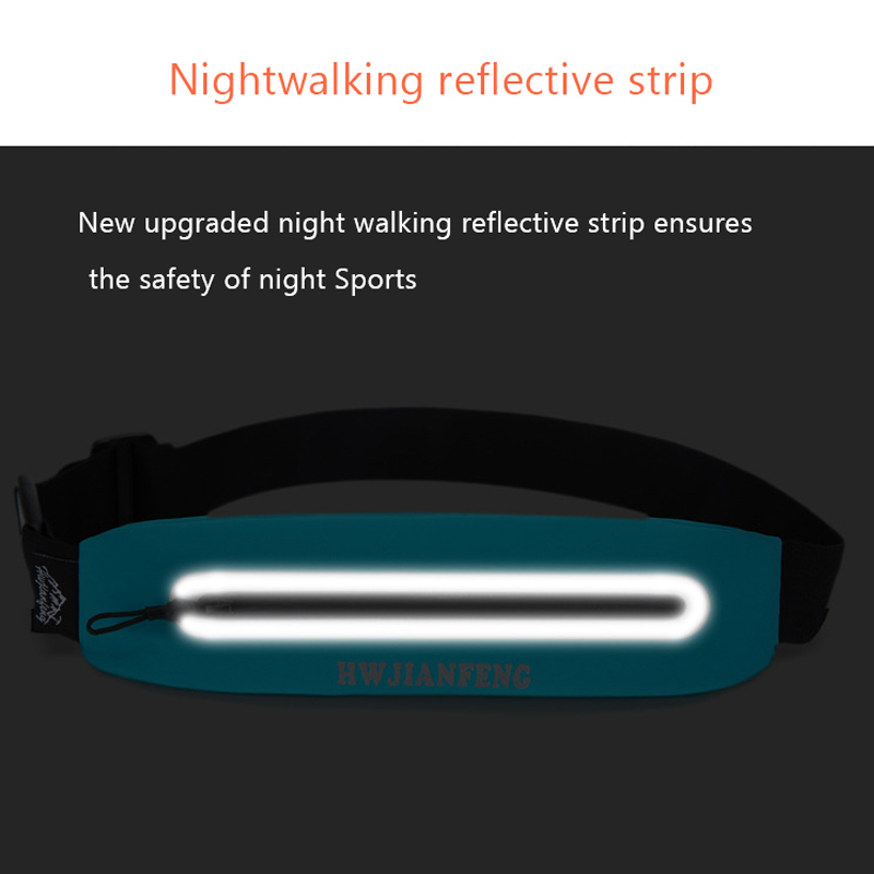 running - Outdoor Sport Running Waist Bag with Headphone Hole Bum Bag Waterproof High Quality with Night Refective Strip Gym Belt Bag