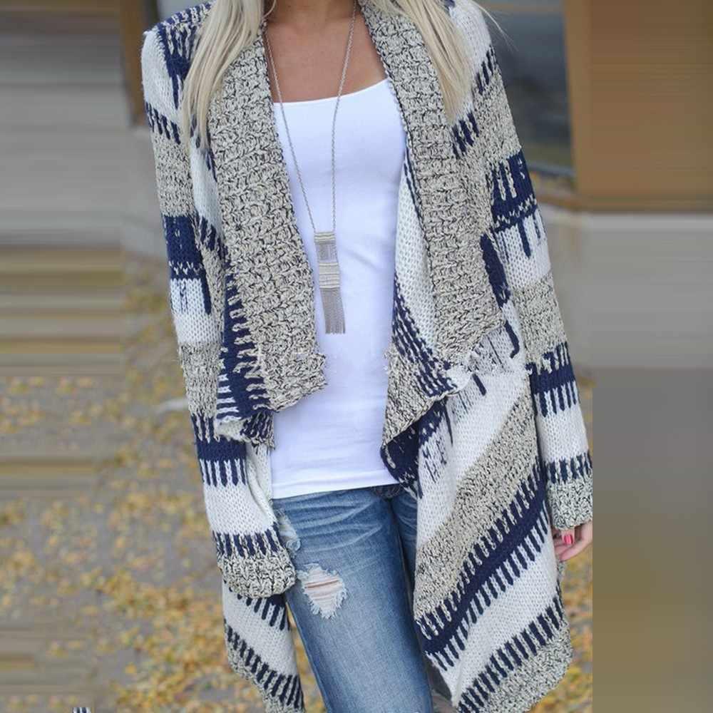 סתיו סוודר נשים ארוך שרוול טלאים סרוג חזית פתוחה פסים קרדיגן נשים מעיל sueter mujer invierno 2019