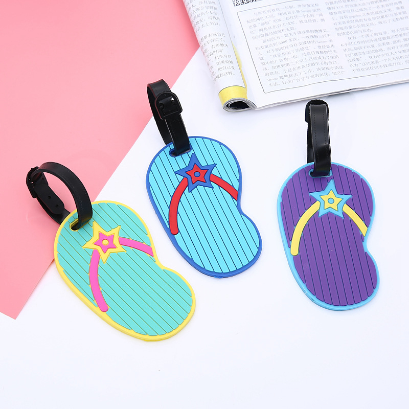 Cartoon Flip Flop Luggage Tags Suitcase Holder ID Address Portable Cute Silica Gel Baggage Boarding Label Travel Accessories