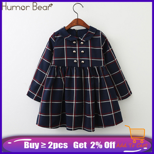 Humor Bear Girls Dress 2019 New Autumn College Winds Style Girls Clothing Long Sleeve Lapel Lattice Pattern Children Kids Dress(China)
