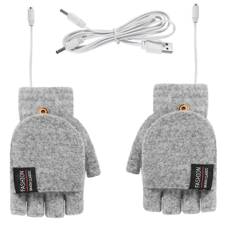 Перчатки с электроподогревом для мужчин и женщин, трикотажные моющиеся перчатки с полупальцами для офиса, школы, работы, занятий спортом, 5 В