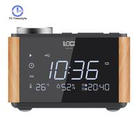 Alarm Mirror Bluetooth Speaker Snooze Temperature Subwoofer USB Charger FM Radio Digital Music Player Table Clock Electronic