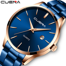 CUENA Mens Watches Top Brand Quartz movement Luxury business Gold watch Military sport waterproof Wrist watch Relogio Masculino