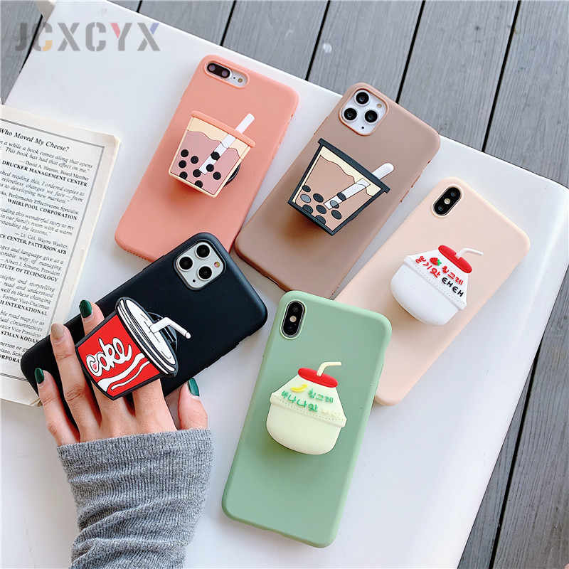 3D Cute Cartoo Drink Bottle cola soft phone case for iphone X XR XS 11 Pro Max 6S 7 8 plus Holder cover for samsung S8 S9 S10