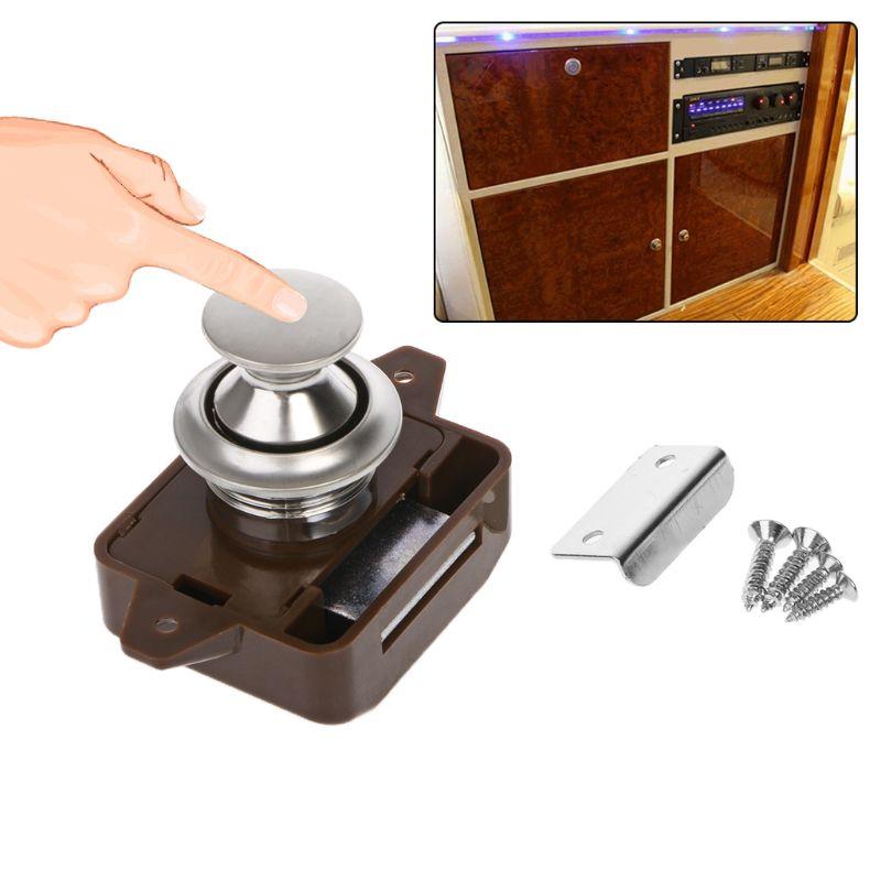 RV Push Button Catch Lock Cupboard Door Motorhome Cabinet Camper Caravan Latch Knob Brown