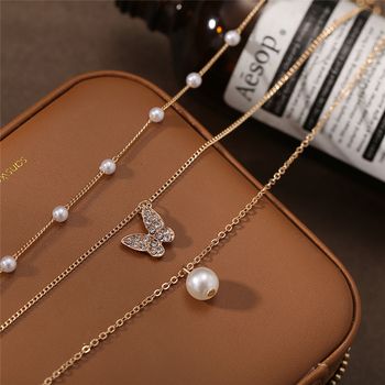 17KM Trendy Multilayered Butterfly Pearl Necklace For Women Fashion Sun Star Gold Pearl Choker Necklaces 2021 Trend Jewelry Gift