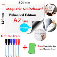 Купить с кэшбэком A2 Size Magnetic Whiteboard Enhanced Edition for Kids Home Office Dry Erase Board White Boards Fridge Wall Stickers Message