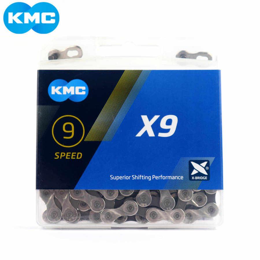Новый KMC X9 X9.93 цепь 9 18 27 скоростная горная велосипедная цепь, для велосипеда X9 MTB дорожный велосипед 116L цепи с оригинальной коробкой и MissingLink