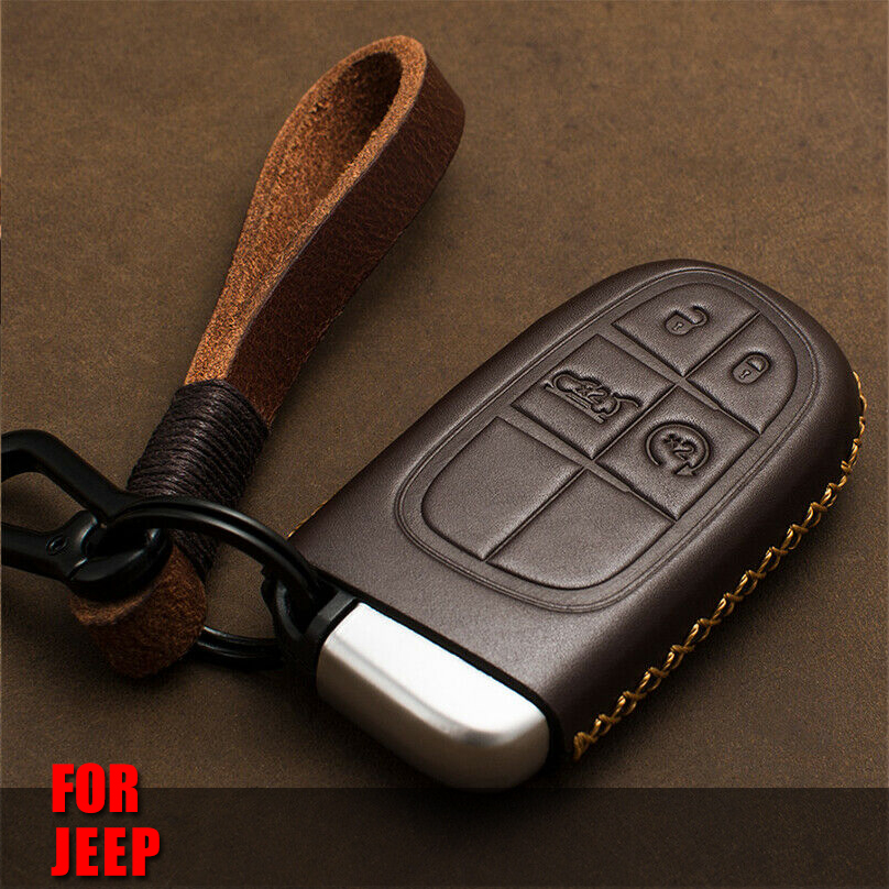 Genuine Leather Car Auto <font><b>Remote</b></font> Car <font><b>Key</b></font> Shell Case Protector Cover for <font><b>JEEP</b></font> FIAT DODGE CHRYSLER Cherokee Compass Car Accessories image