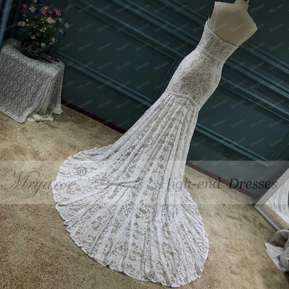 Oferta especial mryarce! Luxo exclusivo laço sereia vestido de casamento alças removíveis vestidos de noiva