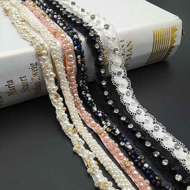 10 Yards Beaded Lace Black And White Pearl Beading Lace Ribbon Clothing DIY Shoes Hats Decorative Accessories Handmade