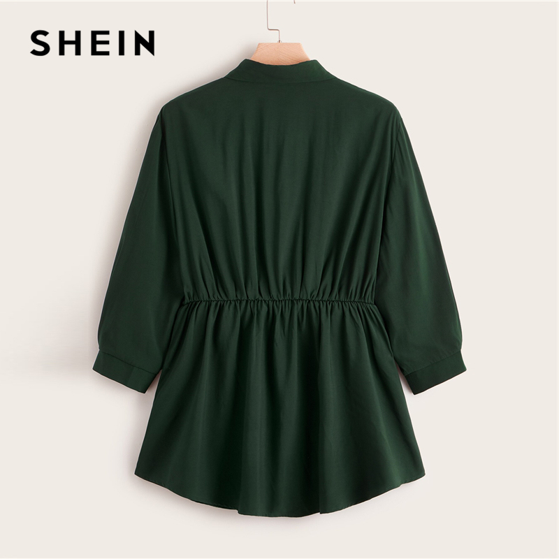 SHEIN Plus Size Abaya Green Button Front Smock Peplum Long Blouse Top Women Spring Autumn Flared Hem Casual Solid Plus Blouses 2