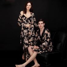 2019 New Autumn Couple Three-piece Suit V Neck Silk Pajamas for Woman Sexy Womens Set Nightwear Pyjama Femmle Sleepwear