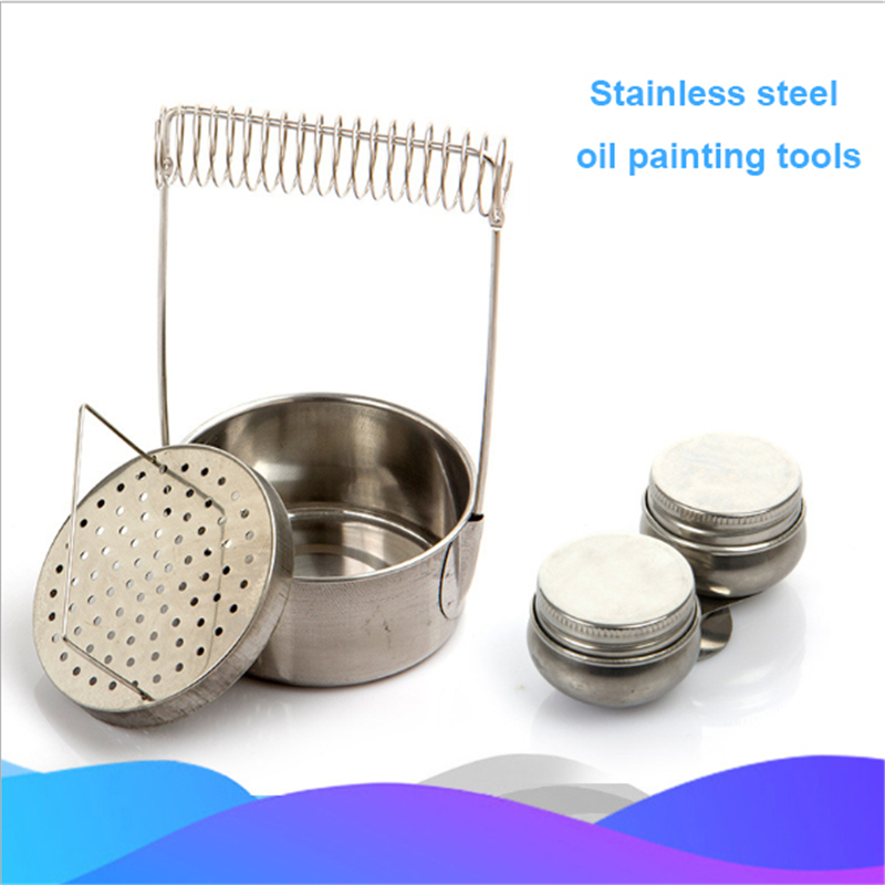 Oil Painting Brush Washing Bucket Wash Pen Barrel Stainless Steel Oil Paint Brush Washer For School Students Art Supplies