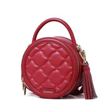 Red Women's bag 2019 new social hot sale fashion ladies handbags summer trendy rhombic small round bag wholesale free shipping
