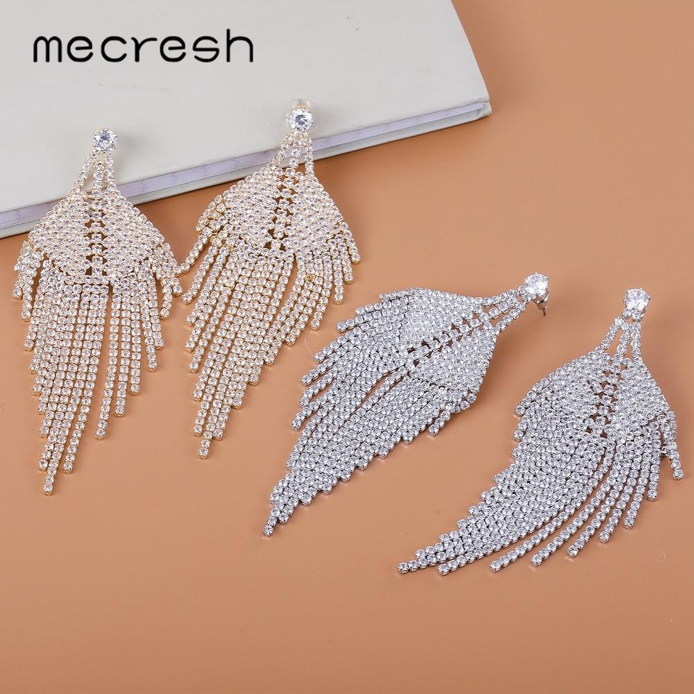Mecresh Statement Leaf Fringe Tassel Dangle Earrings Jewelry Silver Color Rhinestone Irregular Long Wedding Drop Earrings EH1697
