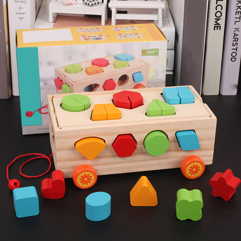 New Trailer Shape Sorter Toys Puzzle Baby Educational Wooden Toy Colorful Children's Building Blocks Toys For Children