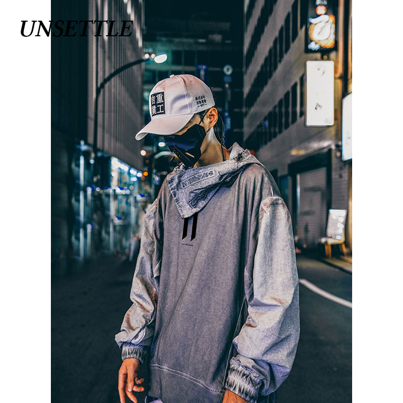 UNSETTLE Dirty Japanese Hoodies Sweatshirts Harajuku Hip Hop Casual Pullover Oversize Hooded Streetwear Men Fashion Tops
