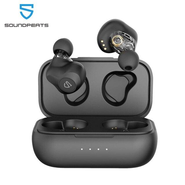 SOUNDPEATS سماعات لاسلكية ديناميكية ثنائية، بلوتوث 5.0, APTX صوت CVC إلغاء الضجيج، تشغيل 27 ساعة