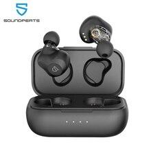 Soundpeatsデュアルダイナミックドライバーワイヤレスイヤフォンbluetooth 5.0 aptxオーディオcvcノイズキャンセル27Hrsプレイ時間イヤホン