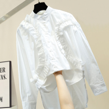 Blouse Women Pleated Flounced Lace-up Joint Front Short Long Back Mid-length Loose-Fit Shirt Women's White Black Blouses Blusas