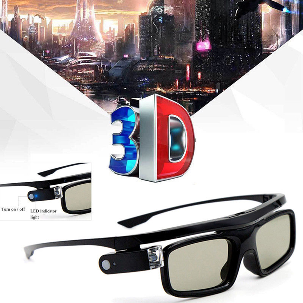 LCD Lenses Home Use Easy Wear Universal Practical Active Shutter USB Rechargeable Accessories 3D Glasses For DLP Link Projector